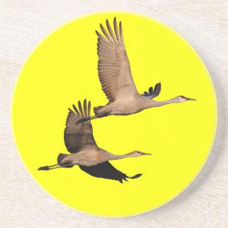 sandhill cranes in flight coaster