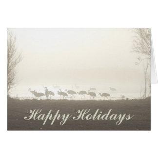 Sandhill Cranes in the Mist Happy Holidays Card