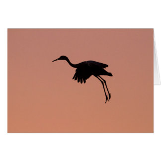 Sandhill silhouette on a pink sunset sky card