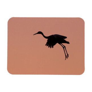 Sandhill silhouette on a pink sunset sky magnet