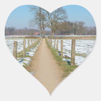Sandpath between snowy meadows in dutch winter heart sticker