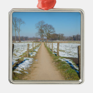 Sandpath between snowy meadows in dutch winter metal ornament