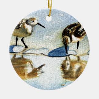 Sandpiper 7, Bird, Ocean, Beach, Nautical, Art Round Ceramic Decoration