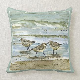 Sandpiper beach birds watercolor in sea blue green cushion