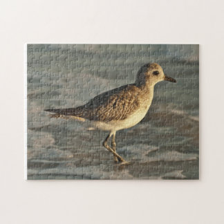 Sandpiper standing in ocean on the beach jigsaw puzzle