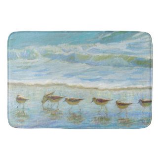 Sandpipers, A Day at the Beach Bath Mat