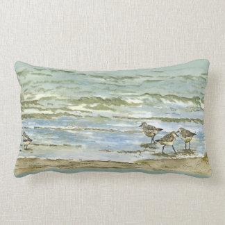 Sandpipers beach bird watercolor in sea blue green lumbar cushion