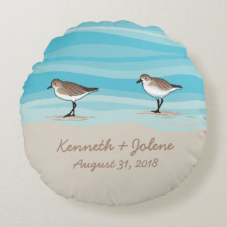 Sandpipers on Beach Wedding Date Names in Sand Round Cushion