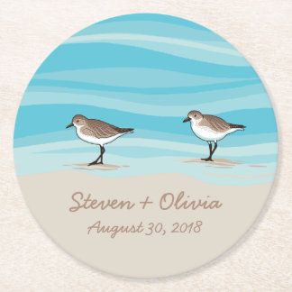 Sandpipers on Beach Wedding Date Names in Sand Round Paper Coaster