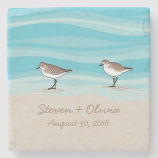 Sandpipers on Beach Wedding Date Names in Sand Stone Coaster