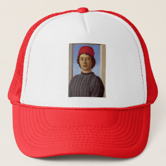 Sandro Botticelli- Portrait of a young man,red cap Trucker Hat