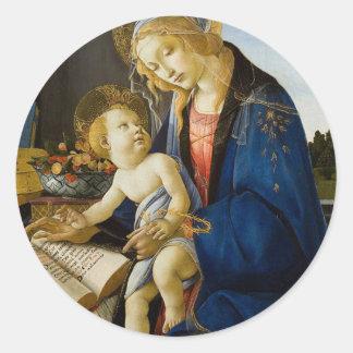 Sandro Botticelli - The Virgin and Child Classic Round Sticker
