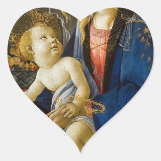Sandro Botticelli - The Virgin and Child Heart Sticker