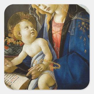 Sandro Botticelli - The Virgin and Child Square Sticker