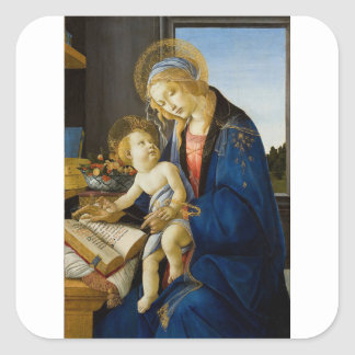 Sandro Botticelli - The Virgin and Child Square Sticker