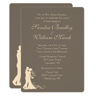 Sandstone Brown and Cream Wedding Invitation