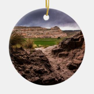 Sandstone Cave In Stormy Weather - Moab - Utah Round Ceramic Decoration