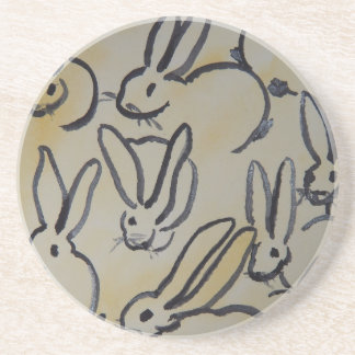 Sandstone Coaster Covered with Rabbits