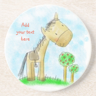 ♥ SANDSTONE COASTER ♥ Cute horse illustration