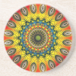 Sandstone coaster with colorful mandala pattern
