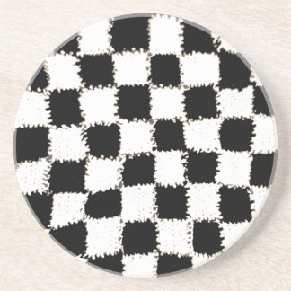 Sandstone Coaster with Crocheted Checkered Style