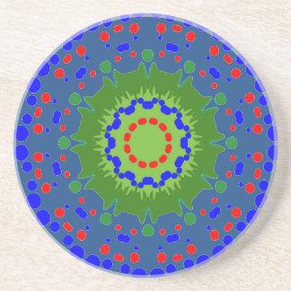 Sandstone Coaster with Mandala Blue Background