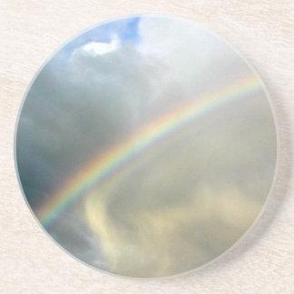 sandstone coaster with photo of pretty rainbow