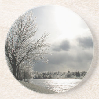 sandstone coaster with photo of winter landscape