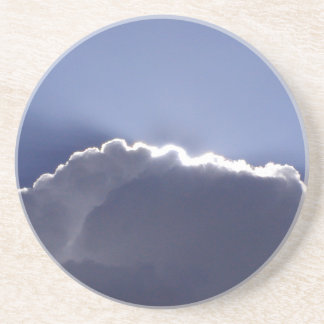 Sandstone coaster with pic of silver lining cloud
