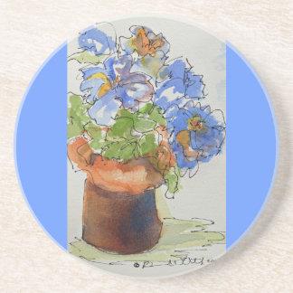 Sandstone Coasters of Beautiful Blue Flowers
