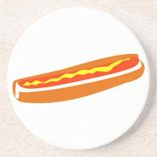 Sandstone Coasters with Hotdog Graphic