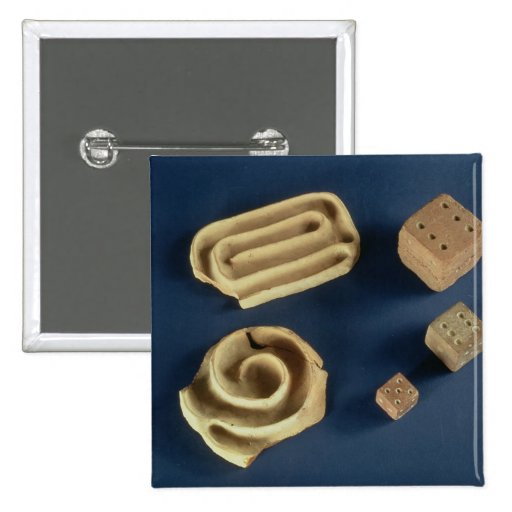 Sandstone dice and terracotta maze game, Harappa, Pins