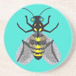 Sandstone Drink Coaster with Bee Art