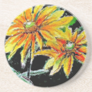 Sandstone Drink Coasters with Sunflower Art