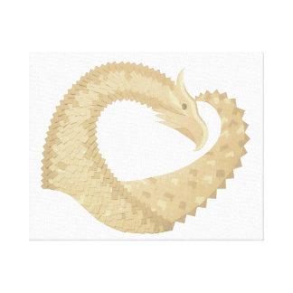 Sandstone heart dragon on white canvas print