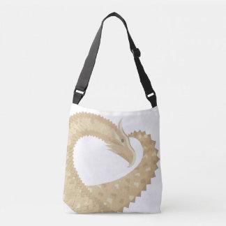Sandstone heart dragon on white crossbody bag