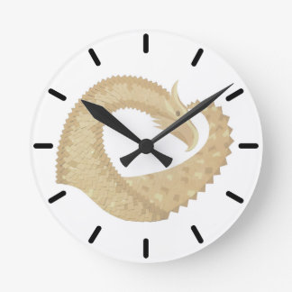 Sandstone heart dragon on white round clock