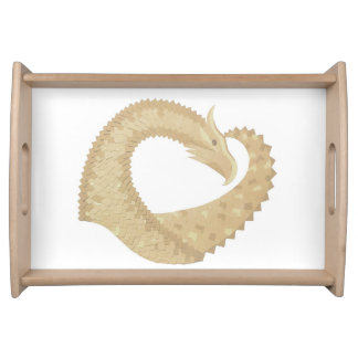 Sandstone heart dragon on white serving tray