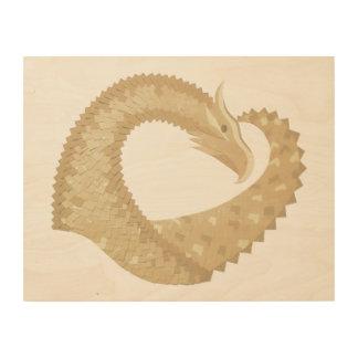 Sandstone heart dragon wood wall decor