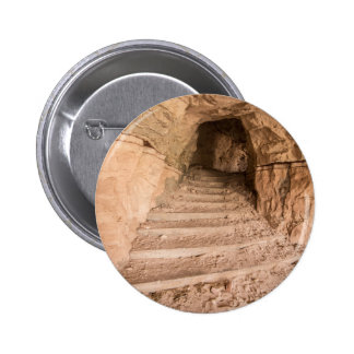 Sandstone Staircase In Abandoned Cave Dwelling 6 Cm Round Badge