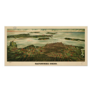 Sandusky Ohio 1898 Antique Panoramic Map Poster