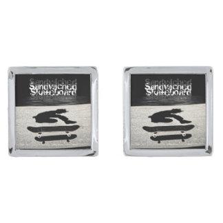 sandwiched skateboard silver finish cuff links