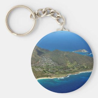Sandy Beach Aerial Key Ring