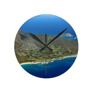 Sandy Beach Aerial Round Clock