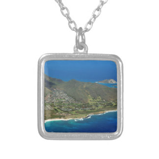 Sandy Beach Aerial Silver Plated Necklace