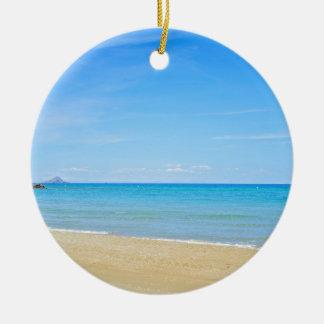 Sandy beach and blue Mediterranean sea Ceramic Ornament