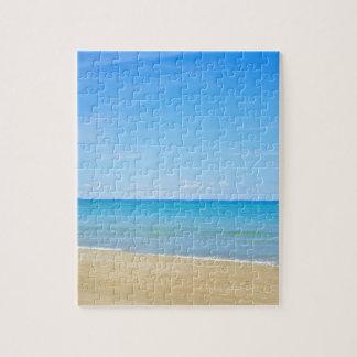 Sandy beach and blue Mediterranean sea Jigsaw Puzzle
