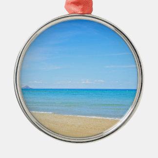 Sandy beach and blue Mediterranean sea Metal Ornament