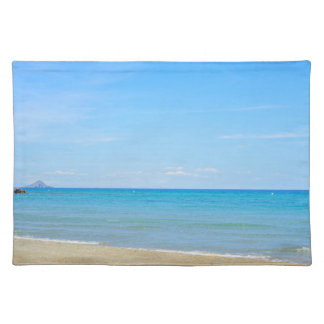 Sandy beach and blue Mediterranean sea Placemat