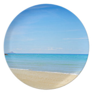 Sandy beach and blue Mediterranean sea Plate